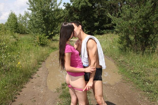 Teens having sex on a running trail.